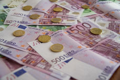 Some Euro Banknotes. A bunch of euro banknotes of diffetent denomination royalty free stock image
