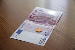 Some Euro Banknotes. A bunch of euro banknotes of diffetent denomination royalty free stock photos