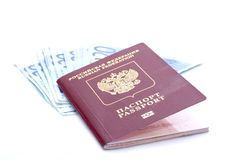 Some euro banknotes and russian passport. Isolated on a white background Royalty Free Stock Photo