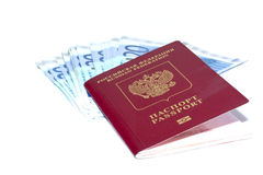 Some euro banknotes and russian passport. Isolated on a white background Royalty Free Stock Images