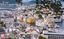 Art Nouveau buildings from viewpoint. Alesund. Norway stock photos