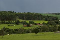 Beautiful view of the farm stock photography