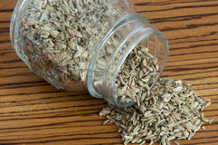 Some fennel seeds. On a wooden cutting board Stock Images