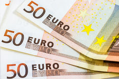 Some fifty euro banknotes. Closeup of some fifty euro banknotes Royalty Free Stock Image