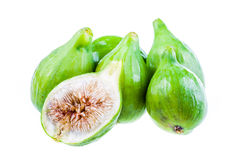 Some figs. Ripe green figs isolated over a white background Royalty Free Stock Photo