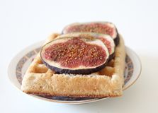 Some figs on a whafle. With white background Royalty Free Stock Photography