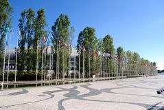 Flags of the nations of the world. Some flags of the nations of the world exhibited at the park of nations of Lisbon royalty free stock photo