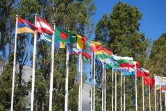 Flags of the world. Some flags of the nations of the world exhibited at the park of nations of Lisbon royalty free stock images