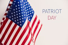 American flags and text patriot day Royalty Free Stock Photos