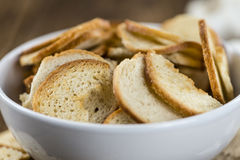 Some fresh baked bread chips. (detailed close-up shot Stock Photo