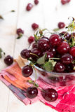 Some fresh Cherries. On bright wooden background Royalty Free Stock Photos