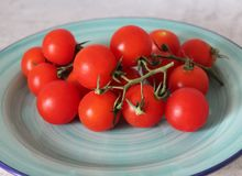 Some fresh cherry tomatoes. On a plate Royalty Free Stock Photography