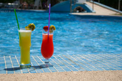 Some fresh cocktails on the pool. Two sweet cocktails are standing at the pool on the spanish summer vacation Stock Photo