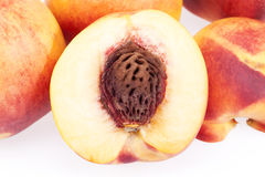 Some fresh  fruits of nectarine on white background. Close up Stock Photo