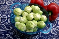 Brussels sprouts. Some fresh green brussels sprouts in a bowl Royalty Free Stock Image