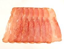Some fresh ham. On a white background Royalty Free Stock Photos