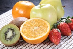 Healthy fruit and fresh food. Some fresh and healthy vegetables and fruit cuisine for cooking Royalty Free Stock Photos