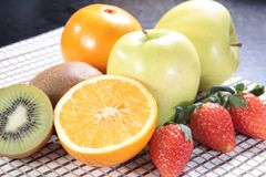 Healthy fruit and fresh food. Some fresh and healthy vegetables and fruit cuisine for cooking Stock Photography