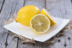 Some fresh Lemon Fruits. On wood Stock Image