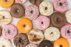 Some fresh made Donuts top view Stock Photo