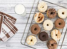 Some fresh made Donuts top view. Some fresh made Donuts view from above; close-up shot royalty free stock image