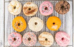 Some fresh made Donuts top view Stock Photos
