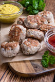 Some fresh made Meatballs. (selective focus) on wooden background Stock Photo