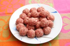 Meatballs. Some fresh meatballs of minced meat of pork and beef royalty free stock photo