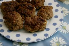 Meatballs. Some fresh meatballs of pork and beef minced meat royalty free stock photos