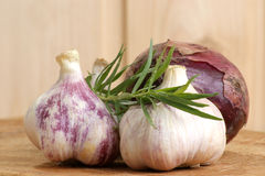 Some fresh organic garlic. And spices from the garden Royalty Free Stock Photos
