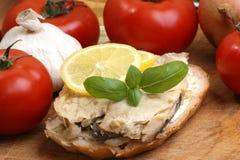 Some fresh organic herring. On home made toast Stock Image