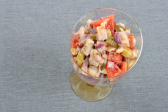 Some fresh organic herring salad. With tomato royalty free stock photography