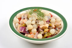 Some fresh organic herring salad. In a bowl royalty free stock image
