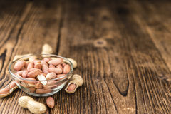Some fresh Peanuts on wooden background Stock Image