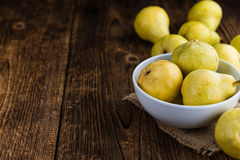 Some fresh Pears. (selective focus) on wooden background Stock Photos