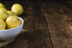 Some fresh Pears. (selective focus) on wooden background stock images