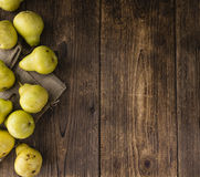 Some fresh Pears. (selective focus) on wooden background royalty free stock photo