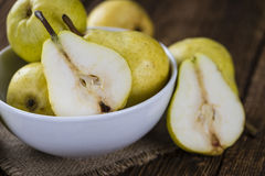 Some fresh Pears. (selective focus) on wooden background Royalty Free Stock Images
