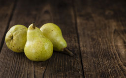 Some fresh Pears. (selective focus) on wooden background Stock Photo