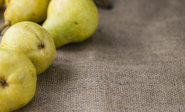 Some fresh Pears. (selective focus) on wooden background royalty free stock photos