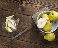 Some fresh Pears. (selective focus) on wooden background royalty free stock photography