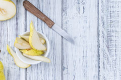 Some fresh Pears. (selective focus) on wooden background Royalty Free Stock Image