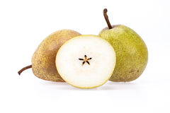 Some fresh pears on white background, close up. Some fresh pears isolated on white background, close up Royalty Free Stock Photos