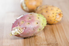 Some fresh Prickly Pears. (detailed close-up shot) on wooden background Royalty Free Stock Photos