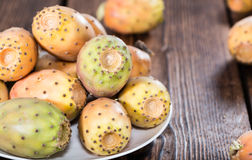 Some fresh Prickly Pears. (detailed close-up shot) on wooden background Royalty Free Stock Photo