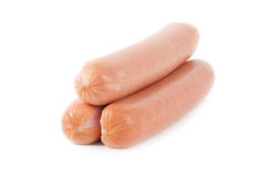 Some fresh sausages. On a white background Stock Photography