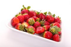 Some of fresh Strawberries for diet. Fresh strawberries fruits on white dish royalty free stock image
