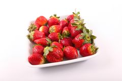 Some of fresh Strawberries for diet. Fresh strawberries fruits on white dish stock photos