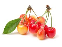 Some fresh sweet cherry. Isolated on a white background stock image