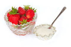 The some fresh sweet strawberry with sugar Stock Photos
